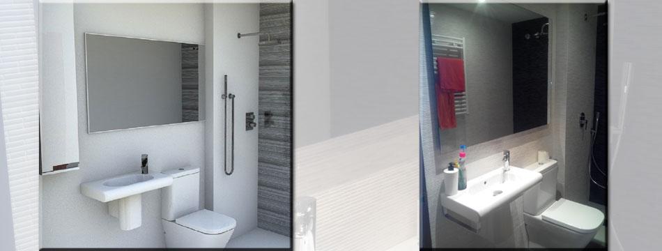 Baño Pequeno Reforma:Reforma de baño con plato de resina – ax2 Especialistas en baños
