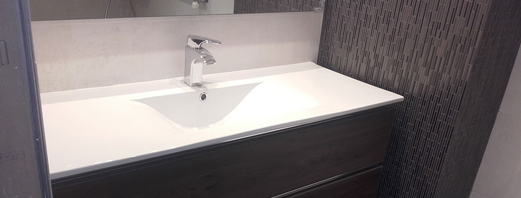 Mueble de baño de 1 seno y 3 cajones en color wengué y de 120 cm de largo