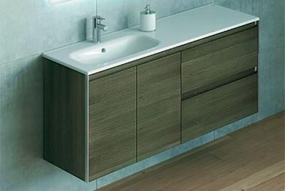 Mueble de baño modelo look de royo bath, de 120 cm de largo, compueto por dos puertas y dos cajones