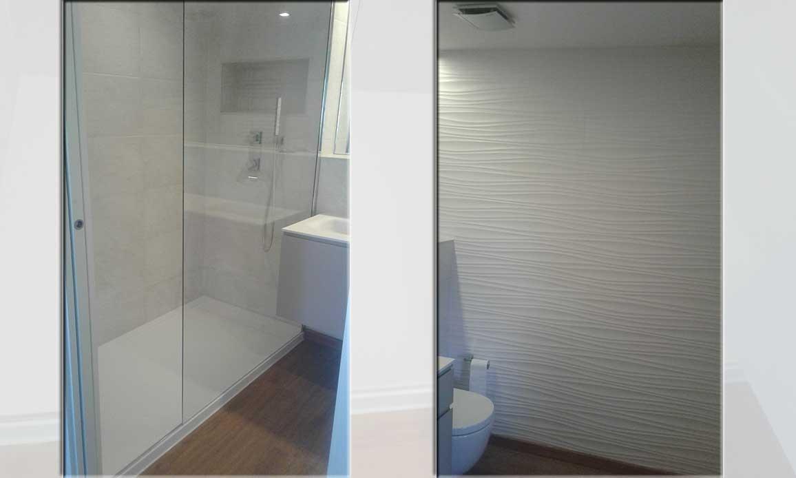 Una reforma de baño parcial, cambiando plato de ducha y alicatando dos paredes del baño con cerámica decorativa