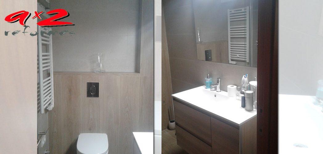 Reforma de baño con sanitario suspendido Meridian N y mueble de baño Look