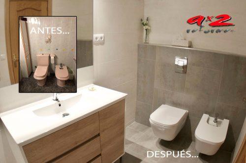 Reforma de baño principal con sanitarios suspendidos