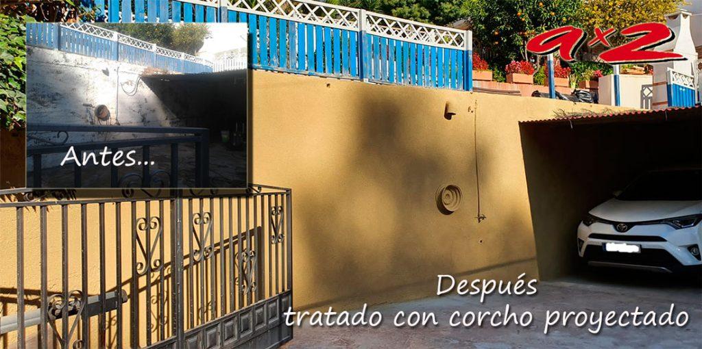 Reparación humedad por condensación de muro, con corcho proyectado