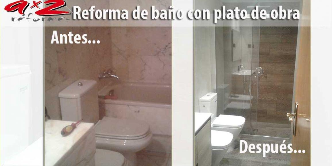 Reforma de cuarto de baño con plato de ducha de obra imitación parquet