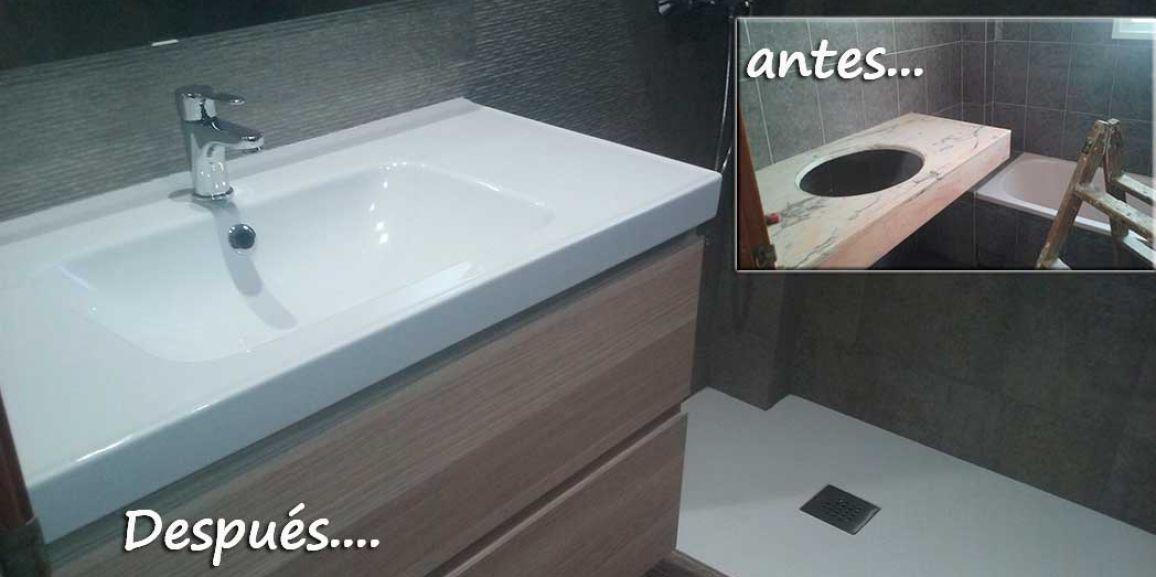Reforma de baño con plato de ducha carga mineral en cubelles